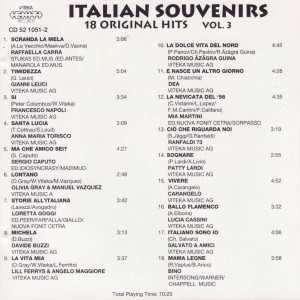 Italian Souvenirs 18 Original Hits Vol 3 B